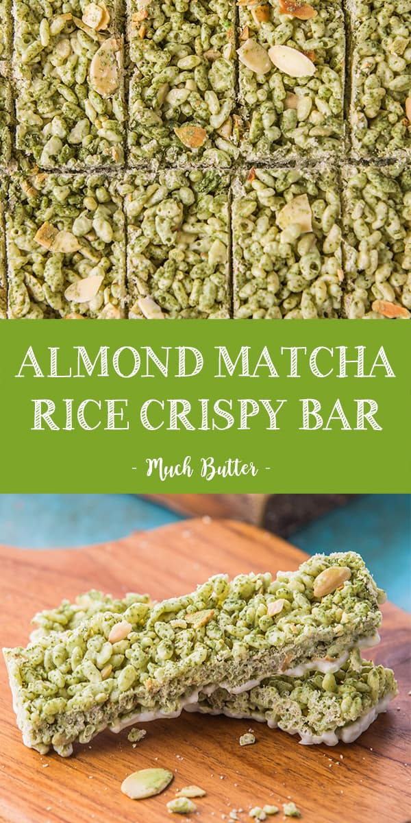 Almond Matcha Rice Crispy Bar