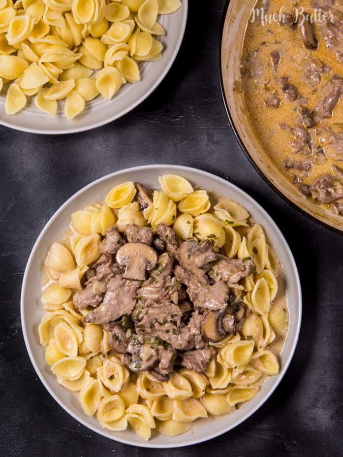 Beef Stroganoff with Conchiglie Pasta