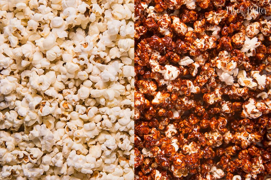 Homemade salted caramel popcorn is perfect as a companion for watching movies or just eat as it is as snack.