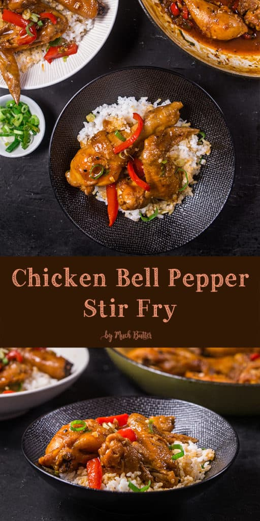 Chicken bell pepper stir fry is one of our leftover food experiments! We use asian inspired ingredients for the sauce. Because how easy this recipe is, it's suitable for quick dinner.