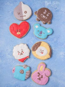 BTS BT21 Sugar Cookies is sugar cookies based on character made by members of famous KPop Group BTS (Bangtan Sonyeondan).