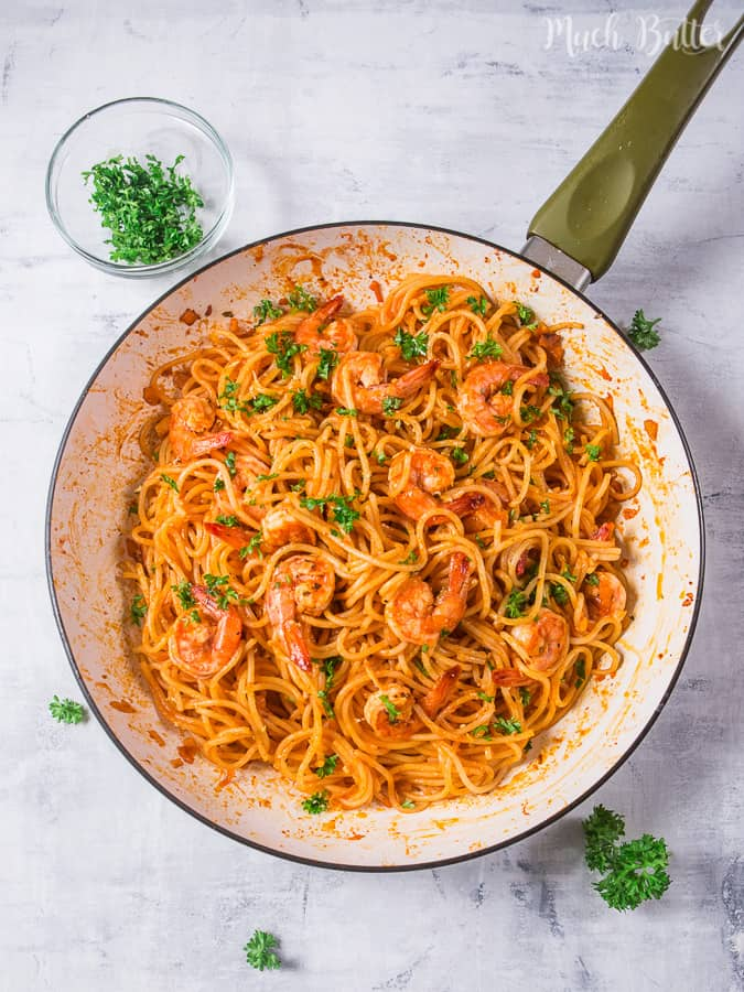 Tomato Shrimp Spaghetti Pasta is easy and delicious meal for lunch or dinner. Suitable for busy people but want to make healthier food at home.