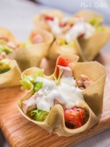 Chicken salad tortilla bowl is perfect for healthy lunch. Not only fulfilling, it also taste really fresh and delicious. It's really easy and quick to make.