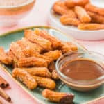 Cinnamon churro bites with chocolate sauce for great snack or dessert. Delicious and heart warming treats for you to enjoy.