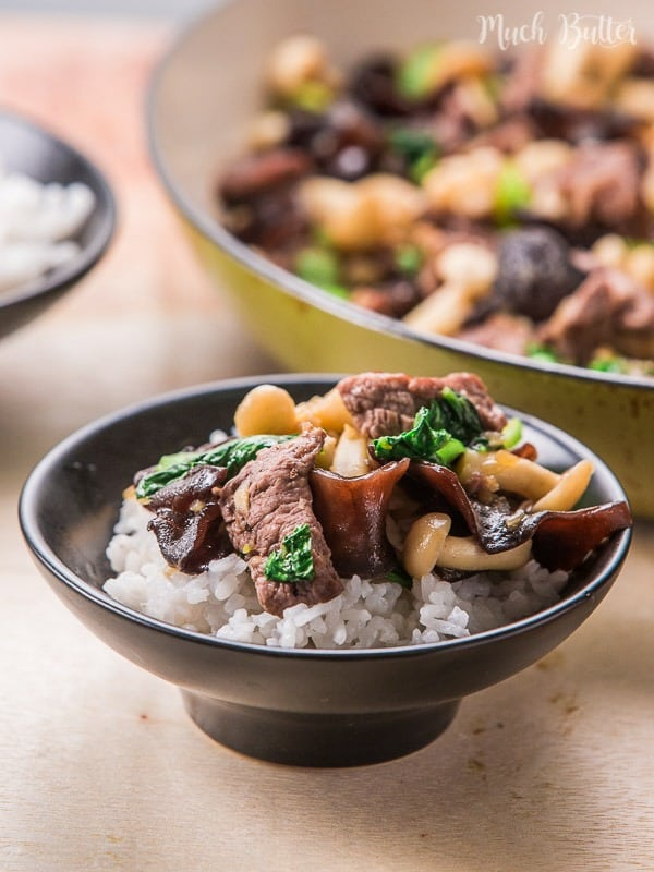 Beef mushroom bokcoy stir fry is a quick and easy, healthy stir-fry recipe. Nutritious side dish with protein and fiber in one side dish.
