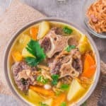 Oxtail soup is comfort food to feed your soul. This is Indonesian version, served with vegetables and rich but clear beef broth.