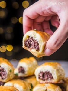 Beef sausage rolls made from beef with puff pastry. Perfect for snack, breakfast, and party appetizer. Kids will love these delicious savory sausage rolls. You only need ground beef, simple spices, and puff pastry for the main ingredients.