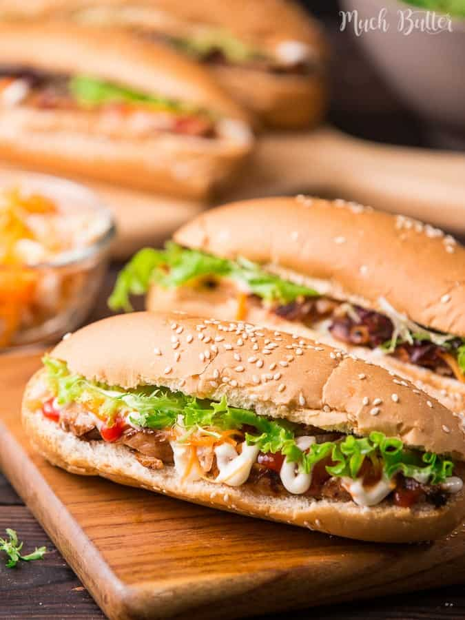 Chicken Banh mi is a Vietnamese sandwich filled with grilled chicken and fresh vegetables. You can make this banh mi sandwich easily at home.