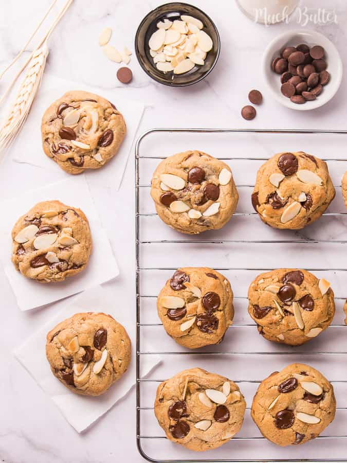 Almond chocolate chips cookies are classic chocolate chips cookies with the addition of crispy thinly toasted almond. Soft and chewy, but also crunchy from almonds! Great dessert and snack accompanied with cold milk.