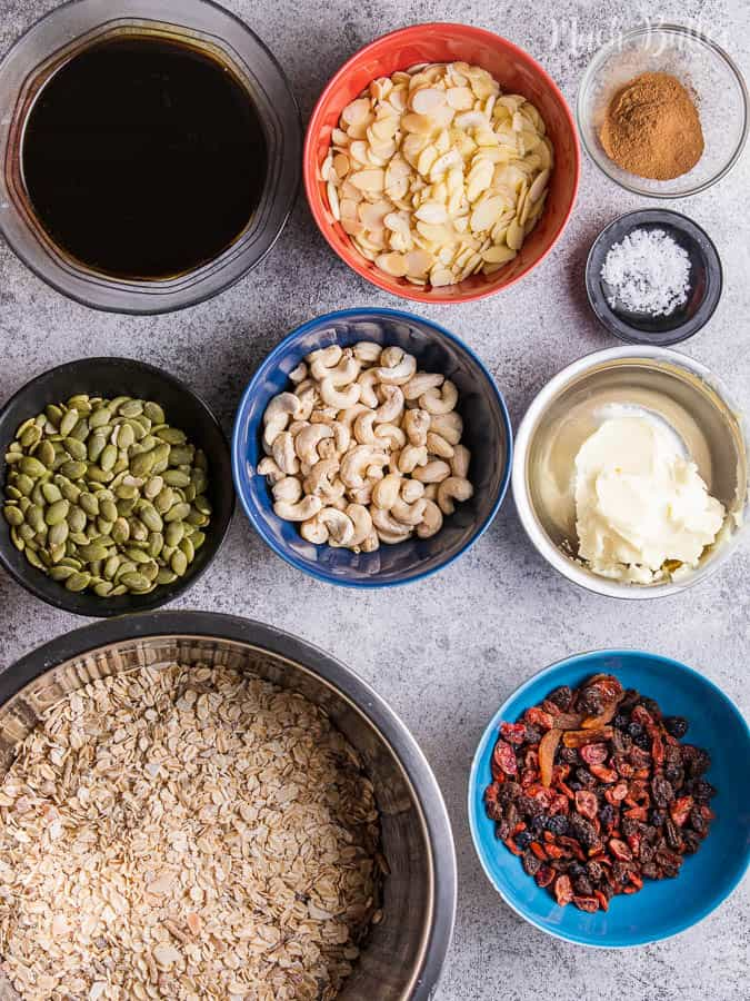 the ingredients of homemade fruits and nuts granola
