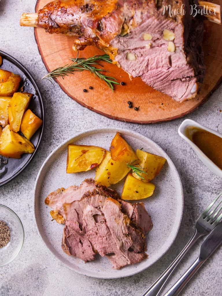 Making caramelized roast leg of lamb for the special Sunday Roast in Holiday season. This recipe is easy even for first-timer. So tender, moist, & flavorful!