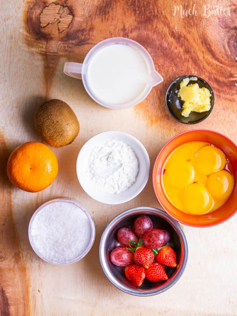 The Ingredients of  Fruit Pastry Cream Tart