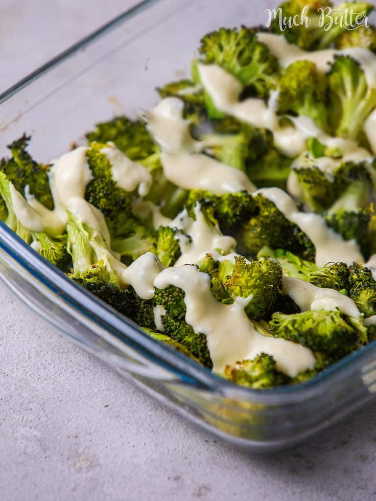 Roasted Broccoli with cheese sauce is a great easy and quick recipe idea for you who need a low-carbo side dish. Tender broccoli roast with creamy cheese sauce is a delish and simple veggie supper. Enjoy the burst of tasty protein!